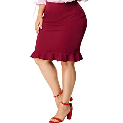 Agnes Orinda Women's Plus Size Fishtail Skirts Ruffle Hem Stretch Midi Pencil Skirt at Amazon Women's Clothing store