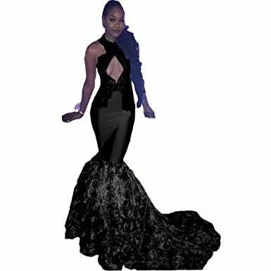 cb0efe4119448 Chady 2018 Black Girls Halter Satin Mermaid Prom Dresses Long 3D Floral  Skirt Beaded Backless Formal Party Evening Gowns