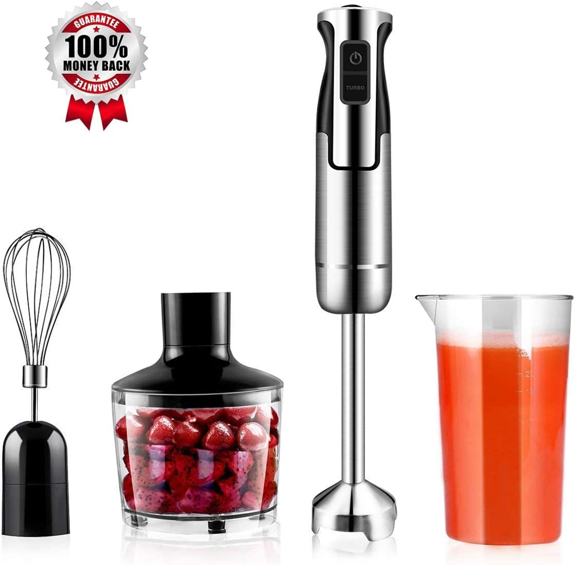 Hand Immersion Blender 500W 8 Speed Control, 4-In-1 Handheld Blender Powerful Smart Include Food Chopper, Egg Whisk, BPA Free Beaker, For Soups, Smoothie, Baby Food
