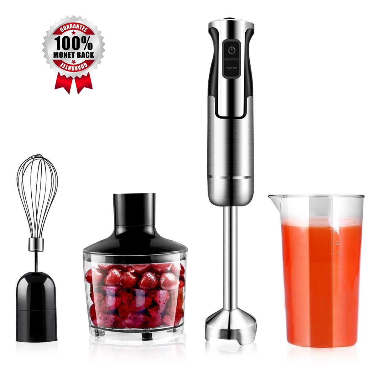 Hand Immersion Blender 500W 8 Speed Control, 4-In-1 Handheld Blender Powerful Smart Include Food Chopper, Egg Whisk, BPA Free Beaker, For Soups, Smoothie, Baby Food By GEEMAY