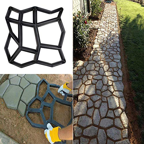 Path Maker Brick Mold Irregular DIY Pavement Mold Concrete Form Pathmate Stepping Stone Molds for Garden Patios 1PC (black)