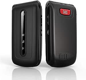 Ushining Flip Phone Unlocked 3G Dual SIM Card SOS Button Big Buttonand LargeVolume Easy to Use Flip Cell Phone for Seniors and Kids(Black)