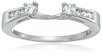 14k white gold round diamond solitaire engagement ring enhancer 14 carat h i - Wedding Ring Enhancers