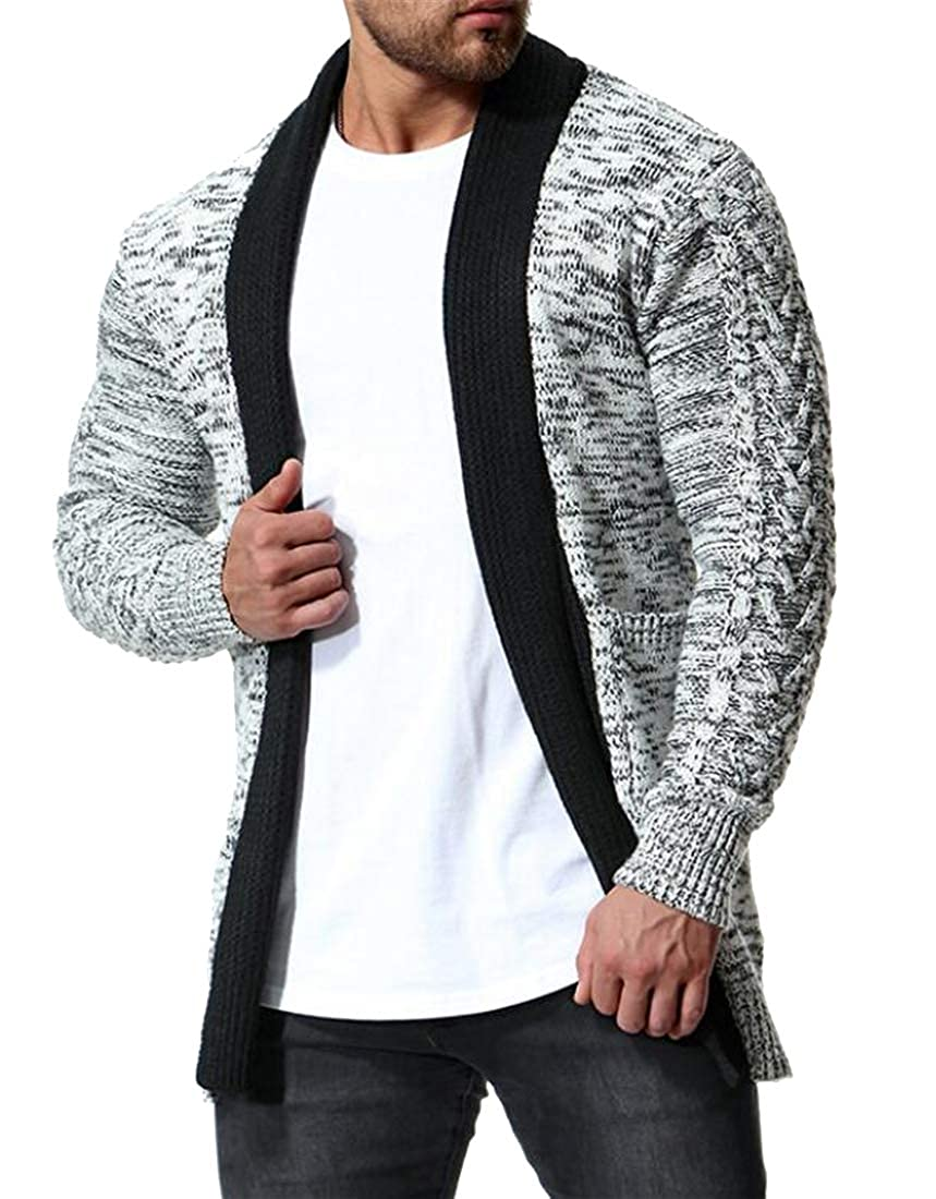 FSSE Mens Knitted Open Front Color Block Long Sleeve Slim Fit Cardigan Sweater