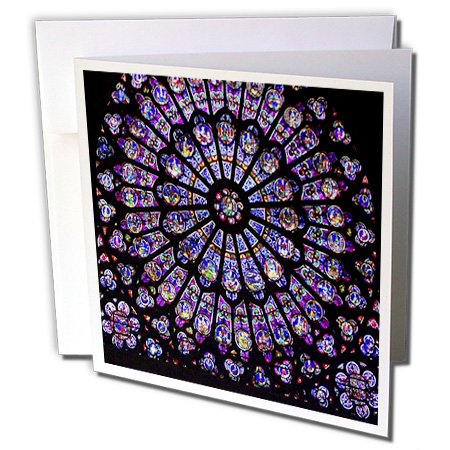 3dRose Notre Dame Cathedral Stained Glass - Greeting Cards, 6 x 6 inches, set of 6 - Glass Stained Card