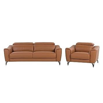 Conjunto de sofás de Piel marrón Dorado para 4 Personas ...