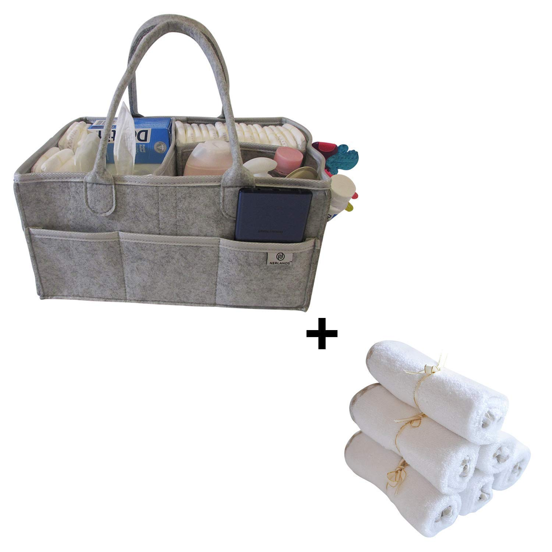 Amazon.com : Diaper Caddy + 6 Organic Bamboo Washcloths, Baby Caddy, Diaper Caddy Storage, Portable Caddy Organizer, Changing Table Caddy, Stylish Nursery ...
