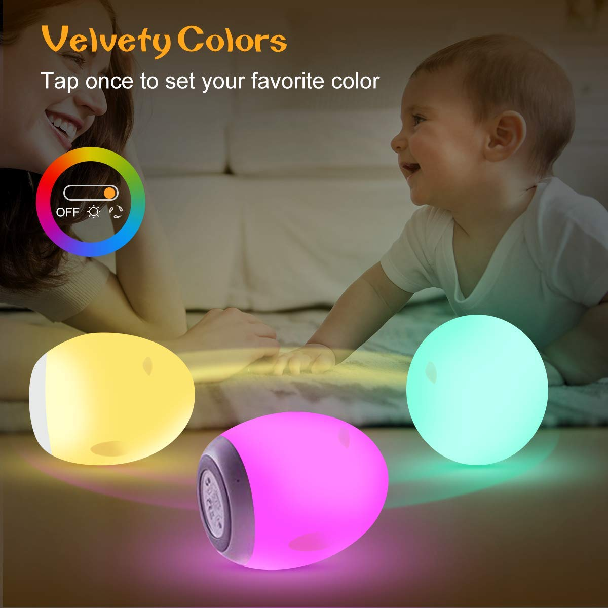 BesDio LED Nursery Lamp : Color Changing Mode /& Dimming Function with Touch Sensor up to 100H Runtime Night Lights for Kids USB Rechargeable 1 Hour Timer