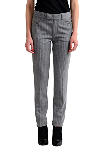 Tom Ford Wool Cashmere Gray Striped Women's Casual Pants-womens pants-dress pants for women-khaki pants for women