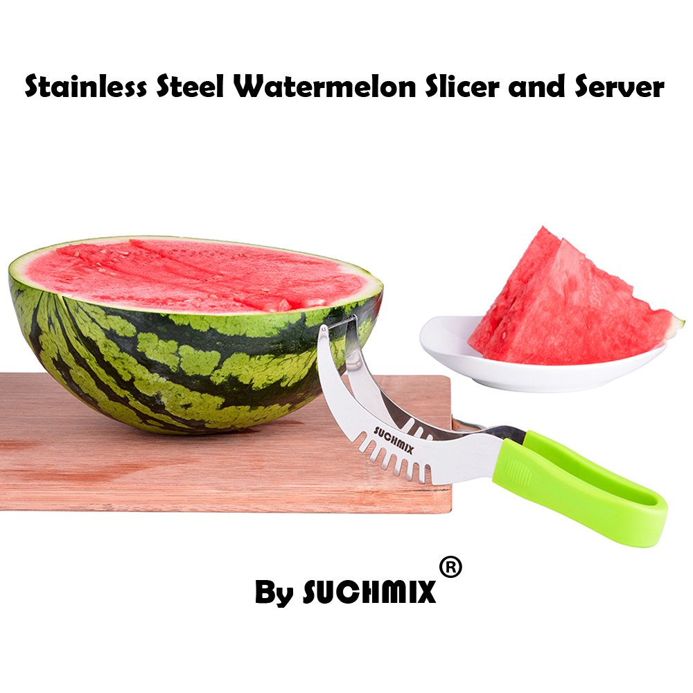 Premium Stainless Steel Watermelon Slicer and Tongs by SUCHMIX,New Extended Non Slip Handle Made to Slice and Serve with Ease - No Mess, Less Stress, Bonus Melon Baller Scoop and Gift Box. by SUCHMIX (Image #7)