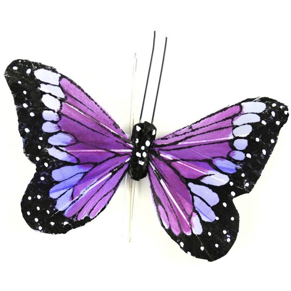 3 Pack Touch of Nature 23032 Feather Butterfly 4-Inch Purple