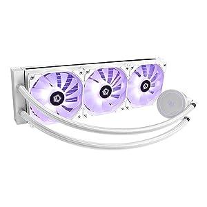 ID-COOLING AURAFLOW X 360 Snow White RGB Closed Loop AIO CPU Liquid Cooler, 12V RGB Sync, Cable Controller, Intel LGA115X/2066 & AMD TR4/AM4