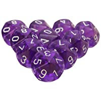 SODIAL 10 Pieces Des D10 De a 10 faces pour RPG Donjons & Dragons Jeux de table Board Transparent Violet