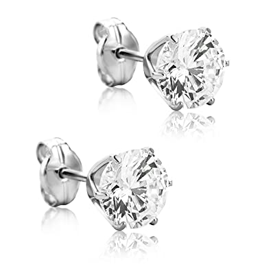 Orovi Woman Studs Earrings 9 ct/375 White Gold and Ruby sEcyBPwg3