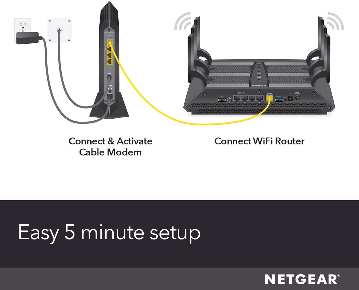 Netgear nighthawk cable modem cm1200 best modem router combo for xfinity by comcast, spectrum, cox up to 2 gigabits 4 x 1g ethernet ports docsis 3.1