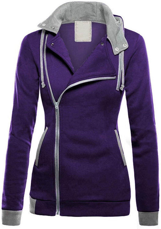 Plus Velvet Hoodies Women Diagonal Zipper Patchwork Sweatshirts Pocket Hooded Jacket,Black,L