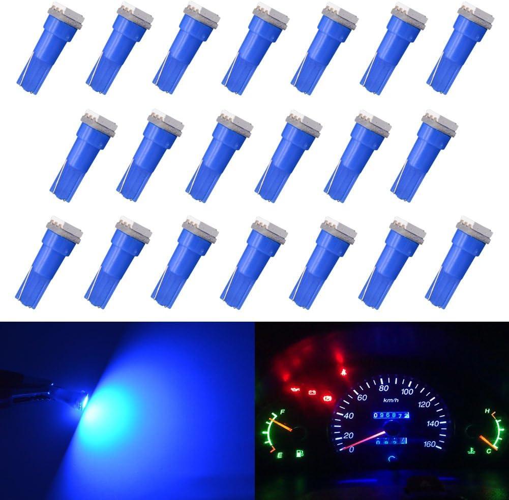 sourcingmap 20PCS Blue T5 5050 SMD 1 LED Auto Car Auto Dashboard Lights Bulbs Interior