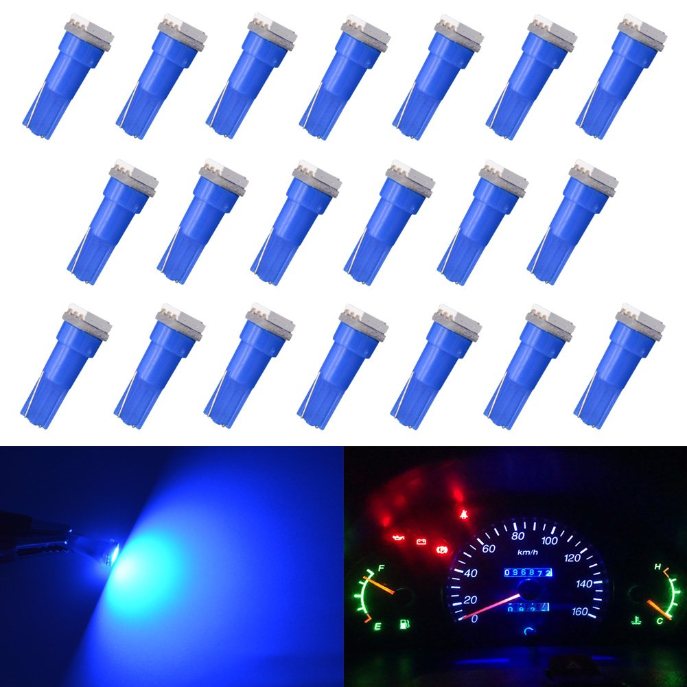 KaTur T5 70 73 74 79 85 86 206 406 LED Bulbs 5050 1SMD Green 1W 12V Car Interior Instrument Cluster Gauge LED Lights Dashboard Signal LED Bulbs (Pack of 10)