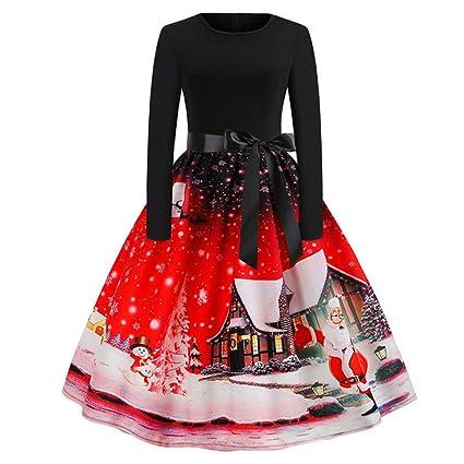 Vestido de Manga Larga con Estampado Vintage de Navidad para la Fiesta de Navidad LILICAT®