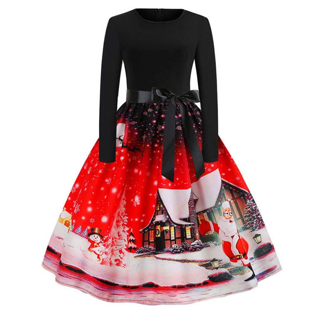Womens Vintage Long Sleeve Dress=Ladies Santa Claus Snowflake Print Evening Party Swing Dress Princess Dress Size 6-14