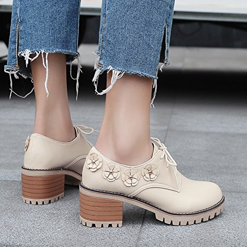 Charm Foot Mujeres Sweet Chunky Flowers Lace Up Oxfords Zapatos Beige