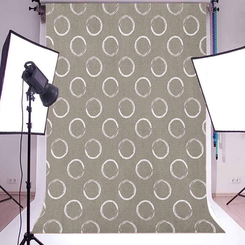 7x10 FT Taupe Vinyl Photography Backdrop,Simple Artistic Pattern Ring Shapes Grungy Display with Brushstrokes Vintage Style Background for Baby Birthday Party Wedding Studio Props Photography