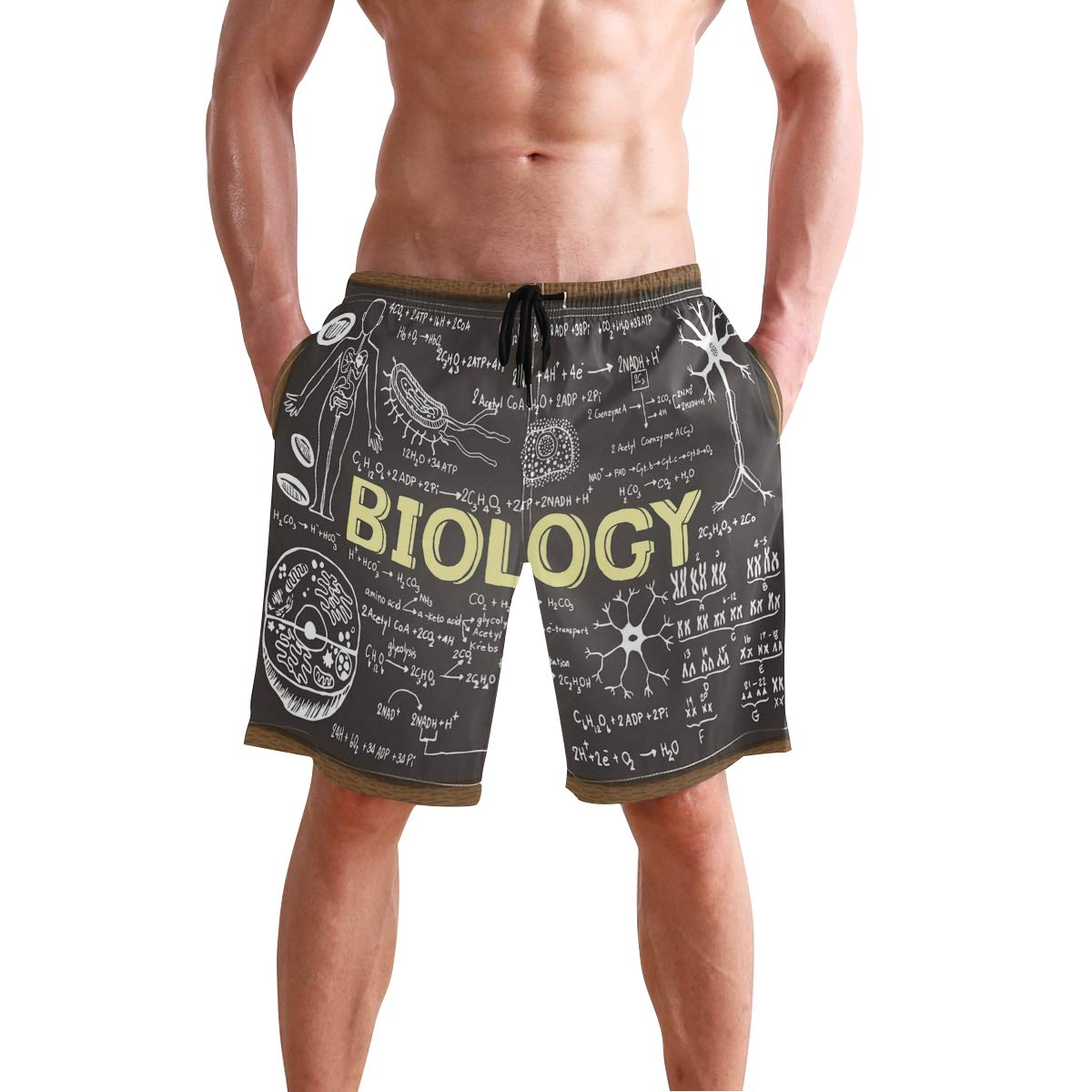 COVASA Mens Summer ShortsBlack and White Filtered Photo of Waterfront Cityscap