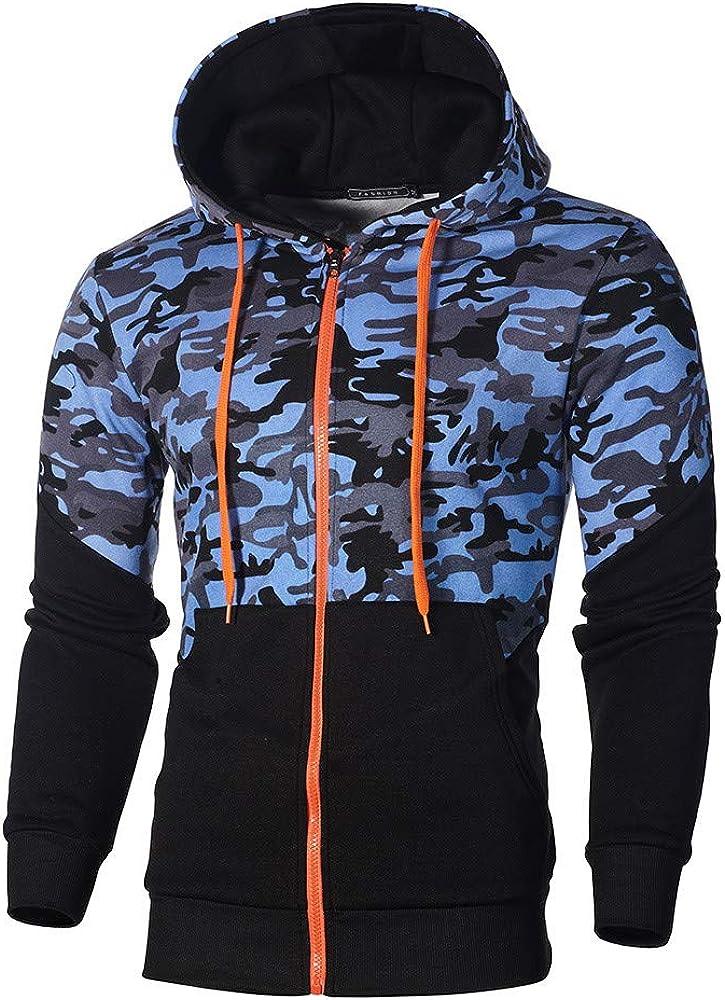 Thenlian Mens Camouflage Zipper Pullover Long Sleeve Hooded Sweatshirt Tops Blouse Mens Zipper Hooded Sweatshirts