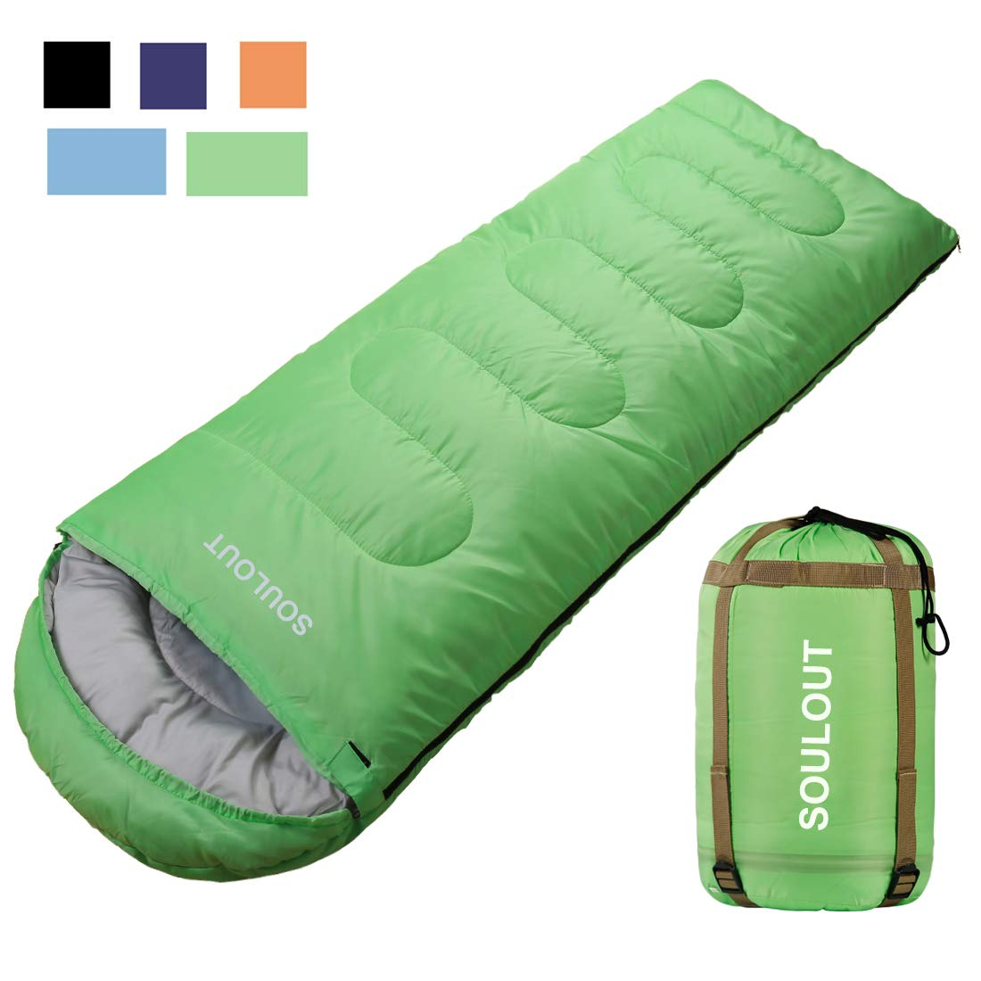 Envelope Sleeping Bag - 4 Seasons Warm Cold Weather Lightweight, Portable, Waterproof With Compression Sack for Adults & Kids - Indoor & Outdoor Activities: Traveling, Camping, Backpacking, Hiking by SOULOUT