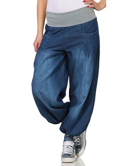 88299b0923d ZARMEXX Femmes Bloomers en Denim Style Jeans Pantalons de Danse Aladdin  Pants pour Chilling Sarouel Bleu