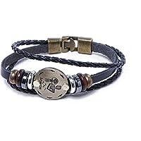 SHAFIRE Zodiac Sign Constellation Zodiac Star Sun Sign Handmade Black Leather Bracelet For Unisex