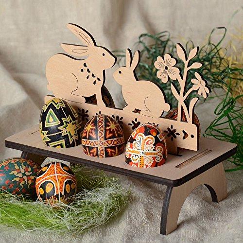 Easter Egg Holder Tray, Botrong Wooden Easter Egg Shelves for Kids Carry Hold Eggs - Detachable Wooden Easter Egg Rack Display Tray Decoration (Rabbit Pattern)