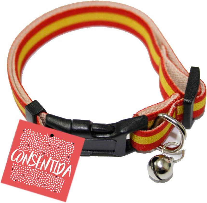 Consentida CN205774 Collar Elástico Gato España, Rojo y Amarillo ...