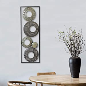 "New All American Collection Modern Chic Aluminum/Metal Wall Decor with Frame 12""x36"" (Cirlcels and Mirrors)"