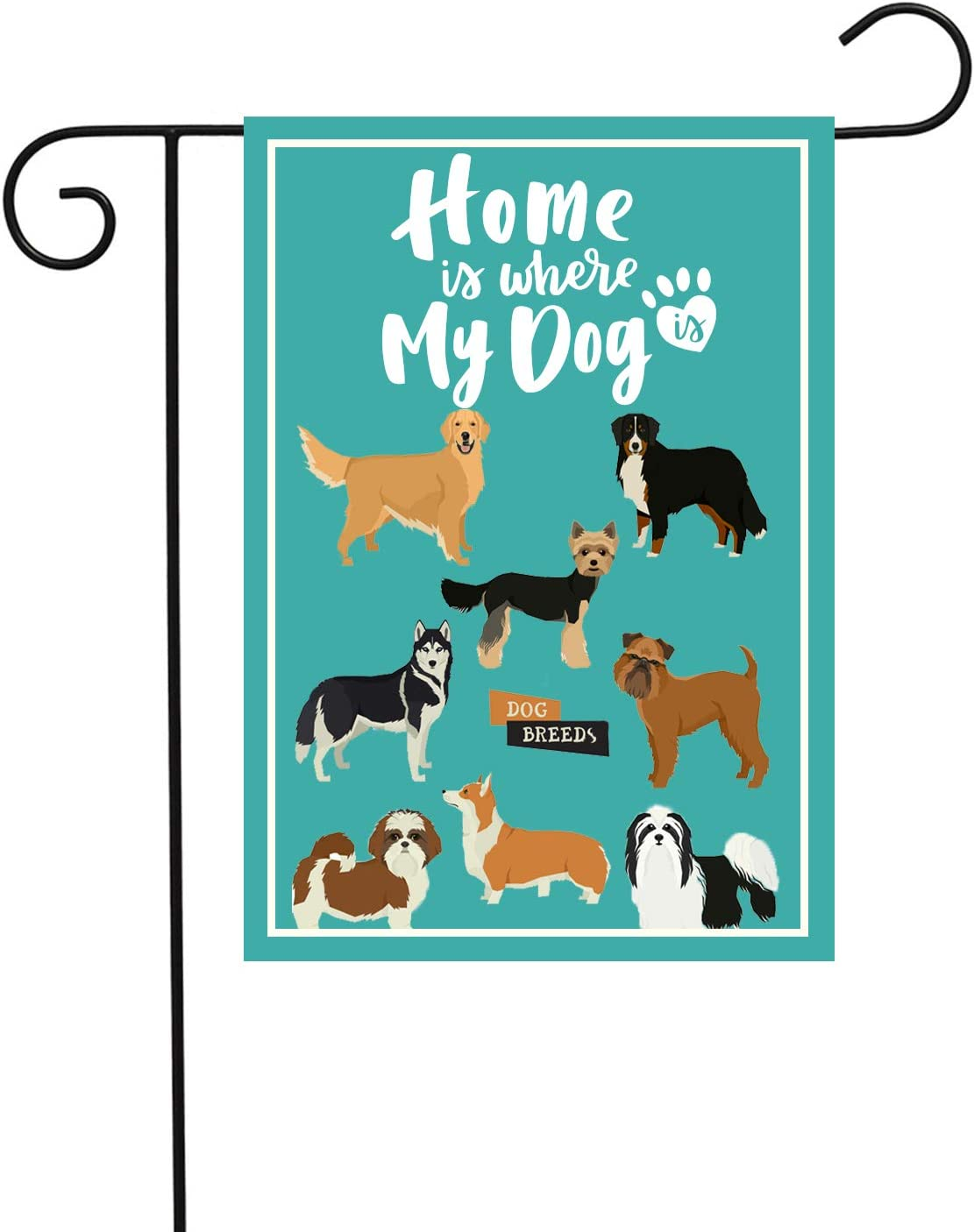 PANHUI Home is Where My Dog Garden Flag Double Sided Decorative Cute Dogs Yard Lawn Flag 12x18 inch