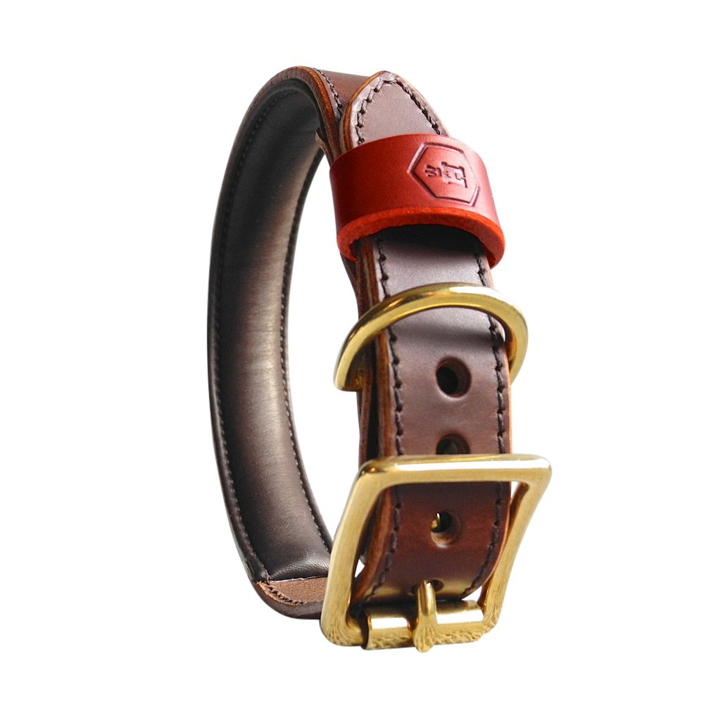 Chestnut Brown Small Chestnut Brown Small Houndworthy Monogram Luxury Padded Bridle Leather Dog Collar, Small, 26-34 cm, Chestnut Brown