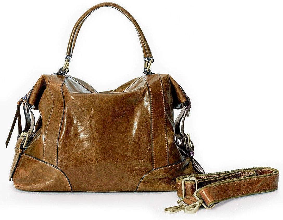 La Poet Women's Cowhide Satchel Top Handle Bag