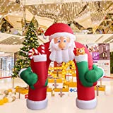 Kinbor 11' Christmas Huge Inflatable Santa Arch Archway Blown Air Holiday Outdoor Decor