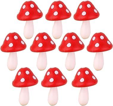 10pcs Setas en Miniatura Madera Decoración para Paisaje de Jardín Casa de Muñecas (rojo): Amazon.es: Juguetes y juegos