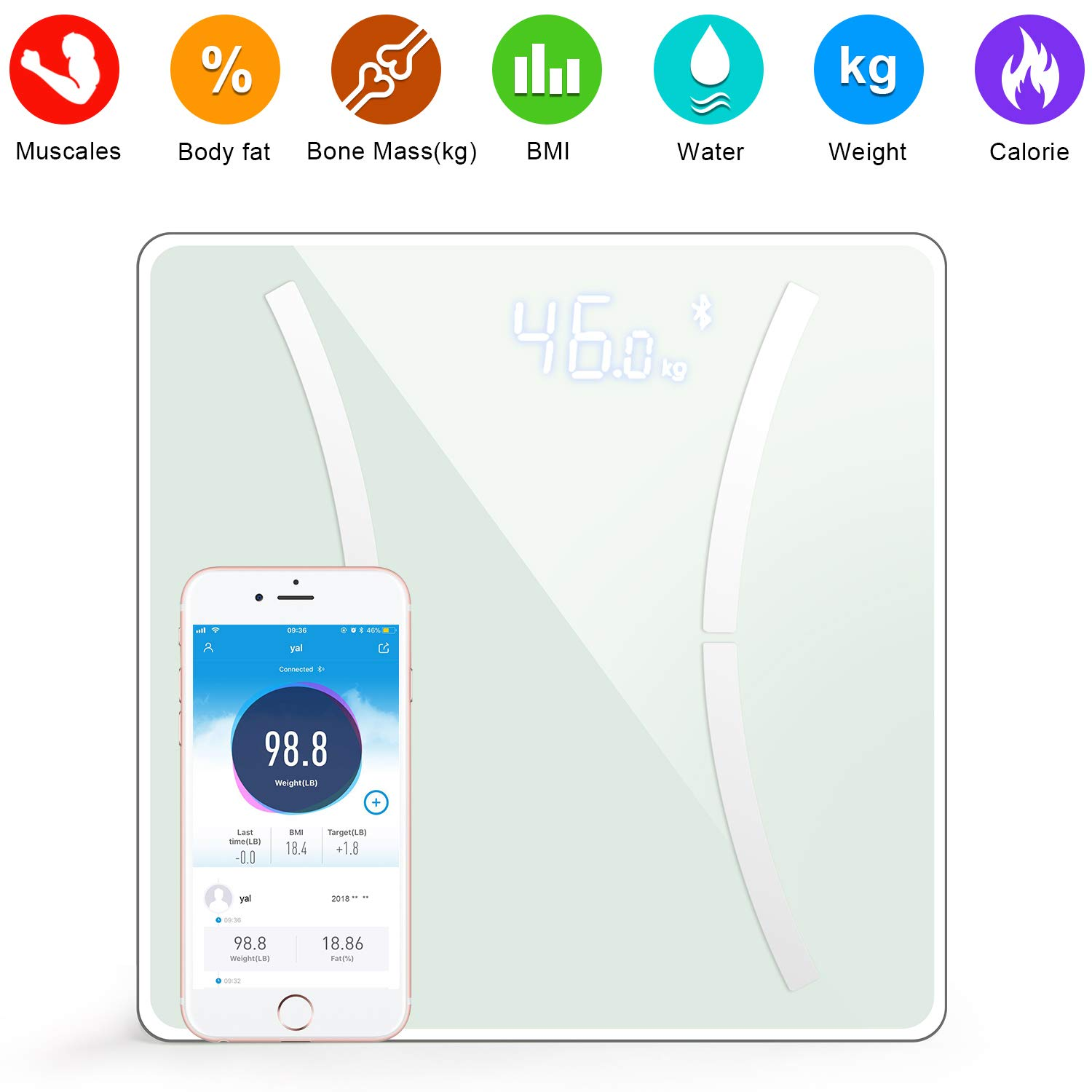 Digital Body Weight Bathroom Scale Smart Wireless Scale with Step-On Technology, Body Composition Analyzer for Body Weight, Fat, Water, BMI, BMR, Muscle Mass