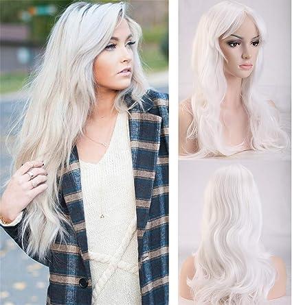 Peluca Blanca Mujer Larga Rizada Ondulada con Flequillo Pelo Se Ve Natural Pelucas Sintéticas para Anime Cosplay Disfraz Fiesta Halloween y Carnaval (48cm,Blanco): Amazon.es: Belleza