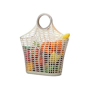 Usmascot - Bolsas reutilizables para alimentos, cesta de almacenamiento de cocina, bolsa de compras de plástico, duraderas y ligeras, para ...