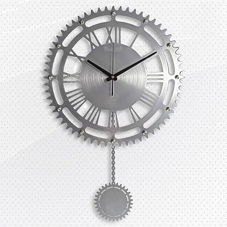 Horloges Argent Metallique Ronde Ajoure Murale Et Montres Grand Moderne Simple Pendule Or Swinging Mute Silencieux Convient Pour La Chambre Taille 60 38cm Amazon Fr Cuisine Maison