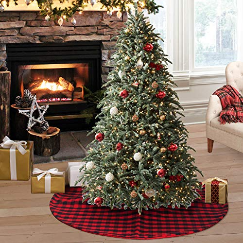 S-DEAL Checked Tree Skirt Plaid Christmas Double Layers Décor for Indoor Outdoor Mat Xmas Party