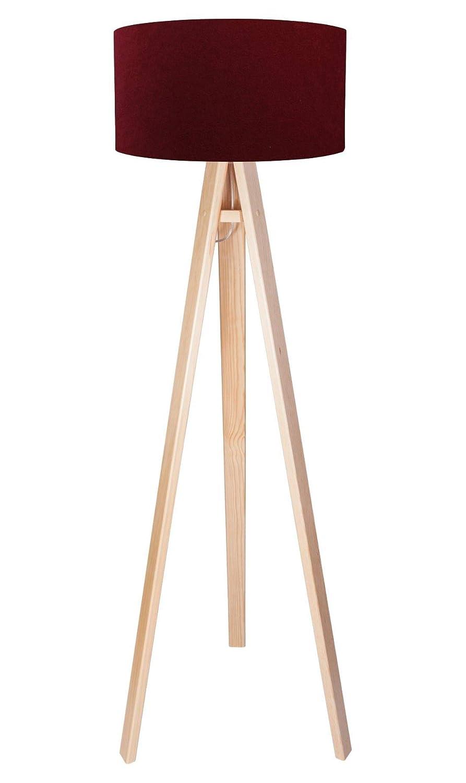 Dreibein Stehleuchte Holz Vintage Stehlampe Retro Standlampe Stoff