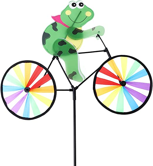 Bear 1 Pc Jigang Colorful Windmills Pinwheels Cute 3D Animal on Bike Windmill Child Outdoor Toy Gift Garden Tools Yard Decor for Children to Assemble