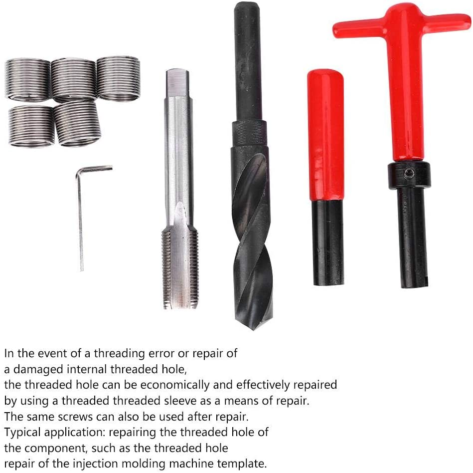 Nimoa 10 Pcs thread repair kit-stainless steel twisted drill bit tap wrench thread insertion tool M18x1.5