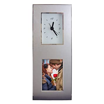 Amazoncom Aluminum Photo Frame Desk Clock Inovative Design