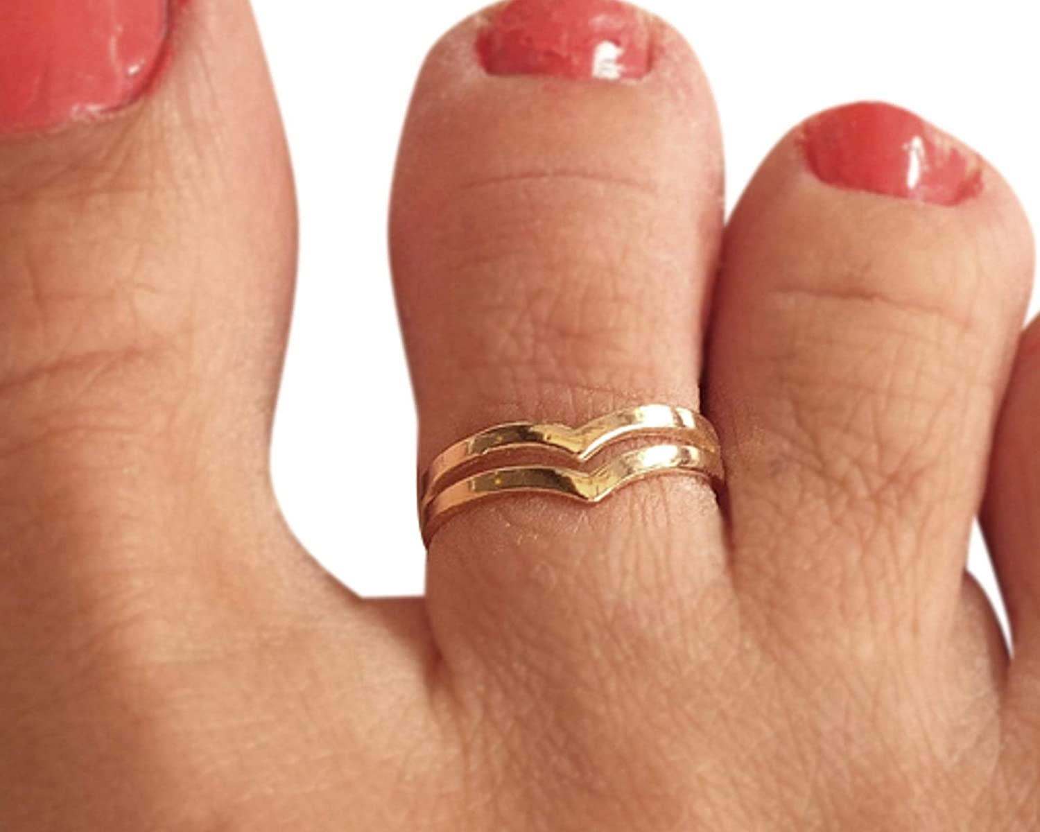 Sterling Silver Toe Ring Birthday Gift Jewelry Adjustable Toe Ring Toe Rings For Women Double Chevron Toe Ring Set Gift For Her