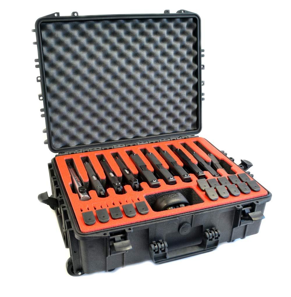 10 Pistol 20 Magazine Doro D2116-7W Heavy Duty Wheeled Gun Case with Custom MyCaseBuilder Foam Insert with Red Topper
